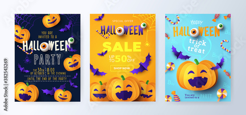 Halloween Party invitations, greeting cards, or posters Set with calligraphy, cutest pumpkins, bats, spiders and candy. Design template for Sale, advertising, web, social media. Paper cut style