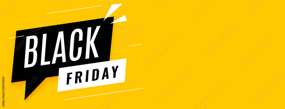 Fototapeta Black friday sale yellow banner with text space