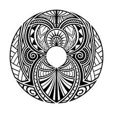 Maori Polynesian Ethnic Circle Tattoo Shape