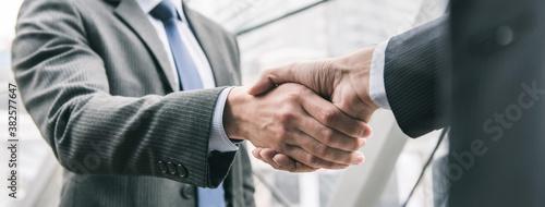 Businessman making handshake with partner Fototapet