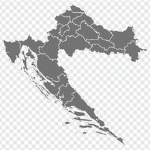 Blank Map Of  Croatia. Departm...
