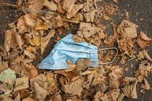A Used Dirty Disposable Mask Lays On The Street Among The Yellow Leaves In Autumn