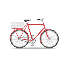City Old Bike With A Basket On The Trunk Isolated On White Background, Red Bicycle Realistic 3d Model Vector Illustration, Environmentally Friendly Transport.