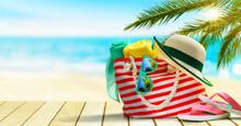 Beach Bag, Flip Flops, Hat And...