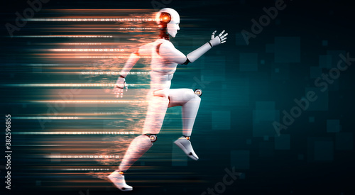 Fotografiet Running robot humanoid showing fast movement and vital energy in concept of future innovation development toward AI brain and artificial intelligence thinking by machine learning