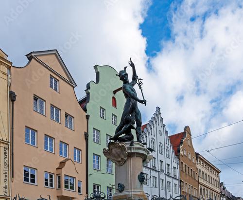 Historic Merkur fountain in Augsburg Wallpaper Mural
