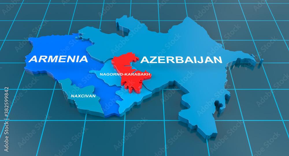 Fototapeta Armenia-Azerbaijan conflict in Nagorno-Karabakh on 3d geographic map. 3d rendering