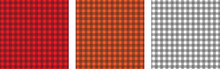 Red Black White, Orange Black And White Black Buffalo Check And Tartan Plaid Set Of Seamless Patterns