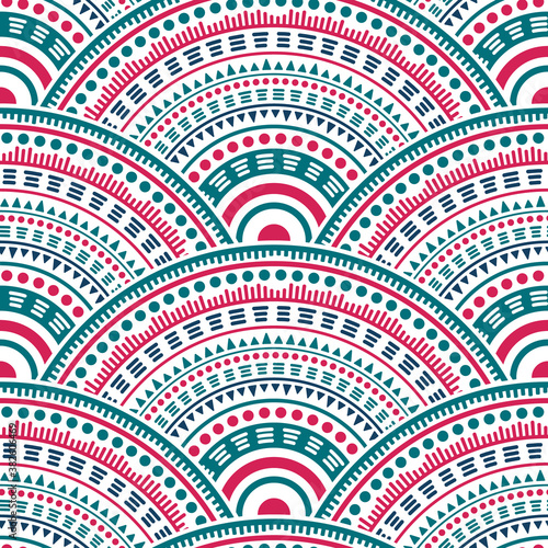 Ethnic circle shapes seamless geometric pattern. Wallpaper Mural