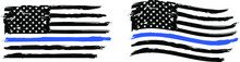 Thin Blue Line. Flag With Police Blue Line - Distressed American Flag.