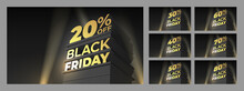 Set Illustration For Sale BLACK FRIDAY With Volumetric Letters, Building And Spotlight. Discounts Twenty, Thirty, Forty, Fifty, Sixty, Seventy, Eighty Percent. Vector Template For Flyer, Shop, Cards.