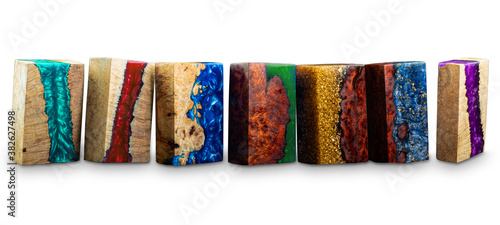 Canvas Print Set of cube casting epoxy resin with nature burl BURMA PADAUK and maple wood on