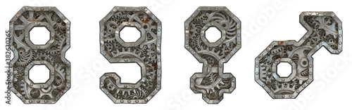 Fototapeta Mechanical alphabet made from rivet metal with gears on white background. Set of numbers 8, 9 and symbols female, male. 3D obraz