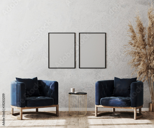 Fotomural Mock up poster frame in modern living room interior background, lobby concept, t