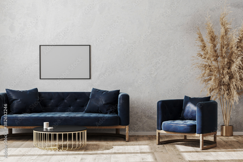 Fototapeta Blank poster frame in modern scandinavian style living room interior mock up with dark blue sofa and armchair, living room interior background, 3d rendering