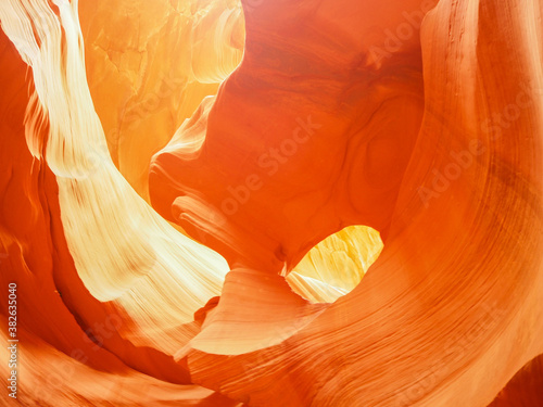 view of twisting sandstone walls in famous Antelope Canyon, American Southwest, Arizona, USA