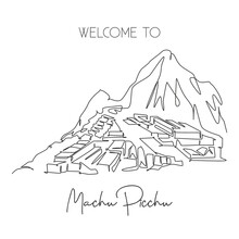 Single Continuous Line Drawing Machu Picchu Landmark. Beautiful Famous Place In Cusco Region Peru. World Travel Tour Home Decor Wall Art Poster Concept. Modern One Line Draw Design Vector Illustration