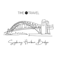 Single Continuous Line Drawing Sydney Harbour Bridge Landmark. Beautiful Construction In Australia. World Travel Home Decor Wall Art Poster Concept. Modern One Line Draw Design Vector Illustration
