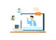 illustration of online meeting concept, group of people talking about job via video call