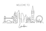 Fototapeta Londyn - Single continuous line drawing of London city skyline. Famous city skyscraper landscape in world. World travel campaign home wall decor poster concept. Modern one line draw design vector illustration