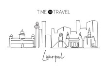 One Continuous Line Drawing Liverpool City Skyline. Beautiful Merseyside City Skyscraper. World Landscape Tourism Travel Vacation Home Wall Decor Concept. Single Line Draw Design Vector Illustration