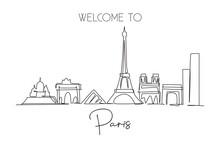 Single Continuous Line Drawing Of Paris City Skyline, France. Famous Skyscraper Landscape In World. World Travel Wall Decor Poster Print Art Concept. Modern One Line Draw Design Vector Illustration