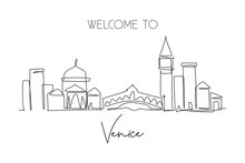 Single Continuous Line Drawing Of Venice City Skyline, Italy. Famous Skyscraper Landscape Postcard. World Travel Home Wall Decor Poster Print Concept. Modern One Line Draw Design Vector Illustration