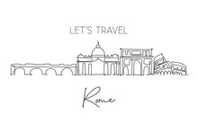 Single Continuous Line Drawing Of Rome City Skyline Italy. Famous Roma City Skyscraper Landscape. World Travel Home Wall Decor Poster Print Art Concept. Modern One Line Draw Design Vector Illustration