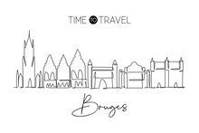 One Continuous Line Drawing Of Bruges City Skyline, Belgium. Beautiful City Skyscraper Postcard. World Landscape Tourism Travel Wall Decor Poster. Stylish Single Line Draw Design Vector Illustration
