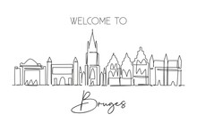Single Continuous Line Drawing Of Bruges City Skyline, Belgium. Famous Skyscraper Landscape. World Travel Home Wall Decor Poster Print Concept. Editable Modern One Line Draw Design Vector Illustration