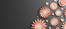 Pink Gold Paper Flowers On Bla...