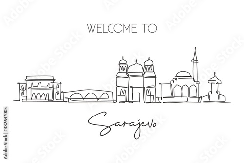 Single continuous line drawing of Sarajevo city skyline, Bosnia and Herzegovina. Famous landscape. World travel concept home wall decor poster print. Modern one line draw design vector illustration