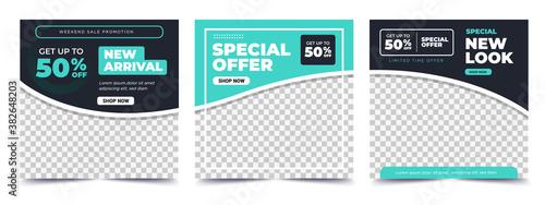 Set of Editable square banner template Fototapet