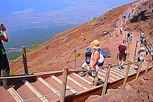 Digital Painting Representing A Line Of Tourists Who Are Climbing To The Top Of Vesuvius In Naples