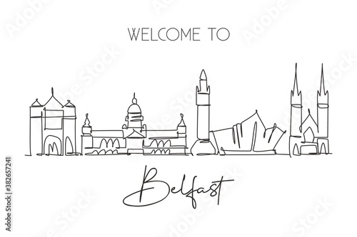 One single line drawing of Belfast city skyline, Northern Ireland Fototapete
