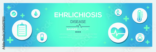 Creative (Ehrlichiosis) disease Banner Word with Icons ,Vector illustration Wallpaper Mural