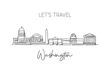 Single Continuous Line Drawing Of Washington City Skyline, USA. Famous City Scraper Landscape. World Travel Concept Home Wall Decor Poster Print Art. Modern One Line Draw Design Vector Illustration
