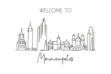 One Single Line Drawing Of Minneapolis City Skyline, USA. Historical Town Landscape. Best Holiday Destination Home Wall Decor Poster Print Art. Trendy Continuous Line Draw Design Vector Illustration