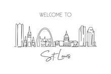One Single Line Drawing Of St. Louis City Skyline, USA. Historical Town Landscape In The World. Best Holiday Destination Poster. Editable Stroke Trendy Continuous Line Draw Design Vector Illustration