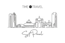One Continuous Line Drawing Saint Paul City Skyline, Minnesota. Beautiful Landmark. World Landscape Tourism Travel Vacation Poster. Editable Stylish Stroke Single Line Draw Design Vector Illustration