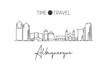 One Continuous Line Drawing Of Albuquerque City Skyline, New Mexico. Beautiful Landmark. World Landscape Tourism Travel Poster Art. Editable Stylish Stroke Single Line Draw Design Vector Illustration