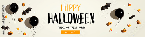 Fotografía Halloween party banner with black balloons and Halloween decorations