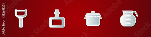 Set Peeler, Sauce bottle, Cooking pot and Coffee icon. Vector.