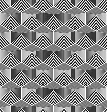 Seamless Geometric Hexagons Pattern With Lines Texture.
