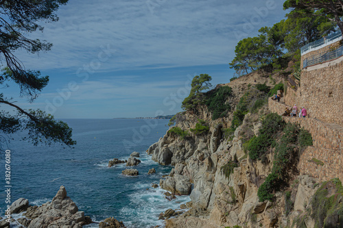 Fototapeta Seascape. Rocky seashore, Sunny day, good weather