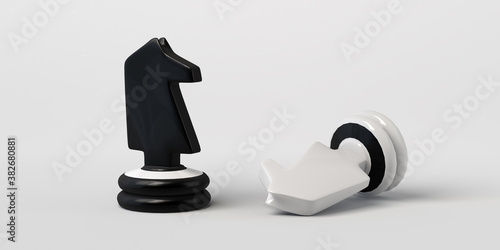 Black chess knight wins white. Isolated on white. Banner. 3d illustration.