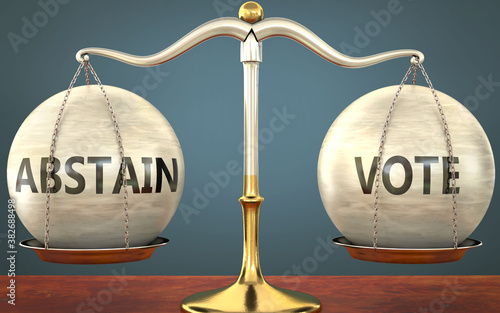 abstain and vote staying in balance - pictured as a metal scale with weights and Wallpaper Mural