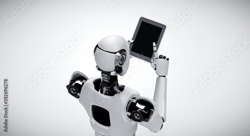 Robot humanoid using tablet computer in future office while using AI thinking brain , artificial intelligence and machine learning process . 4th fourth industrial revolution 3D illustration.