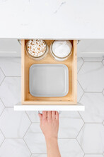 Open Cosmetic And Make Up Drawer Organizer Top View.