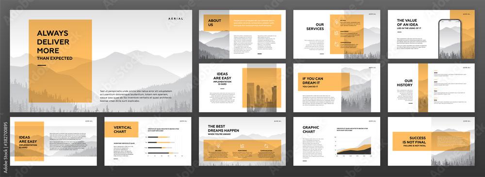 Fototapeta Modern powerpoint presentation templates set. Use for modern keynote presentation background, brochure design, website slider, landing page, annual report, company profile.